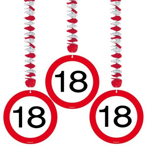 Traffic Sign 18th Party Hanging Decor 3' Birthday Decoration